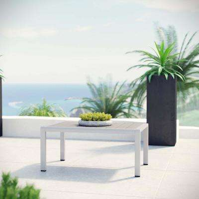 Shore Patio Aluminum Outdoor Coffee Table in Silver Gray