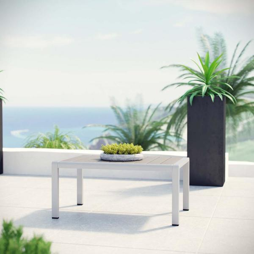 Shore Patio Aluminum Outdoor Coffee Table in Silver Gray