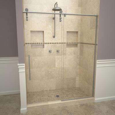 2600V Series 59 in. W x 76 in. H Semi-Frameless Sliding Shower Door in Brushed Stainless with Pull Handles