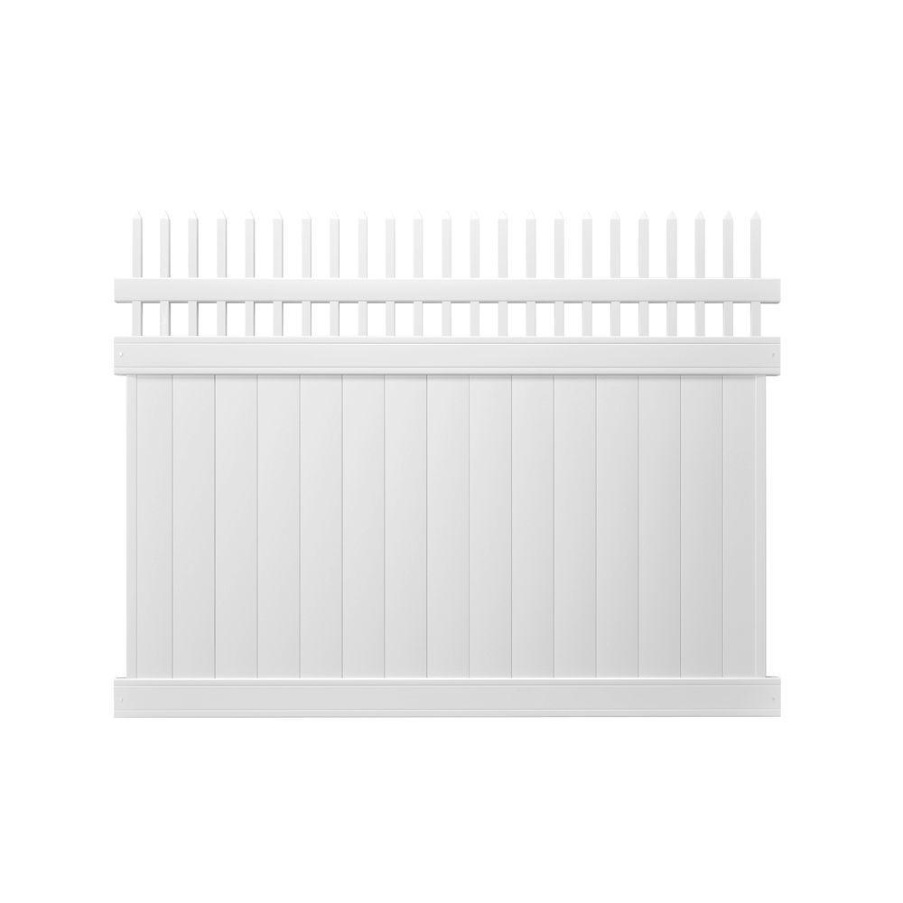 Veranda Pro Series 6 ft. H x 8 ft. W White Vinyl Woodbridge Privacy Picket Top Fence Panel - Unassembled