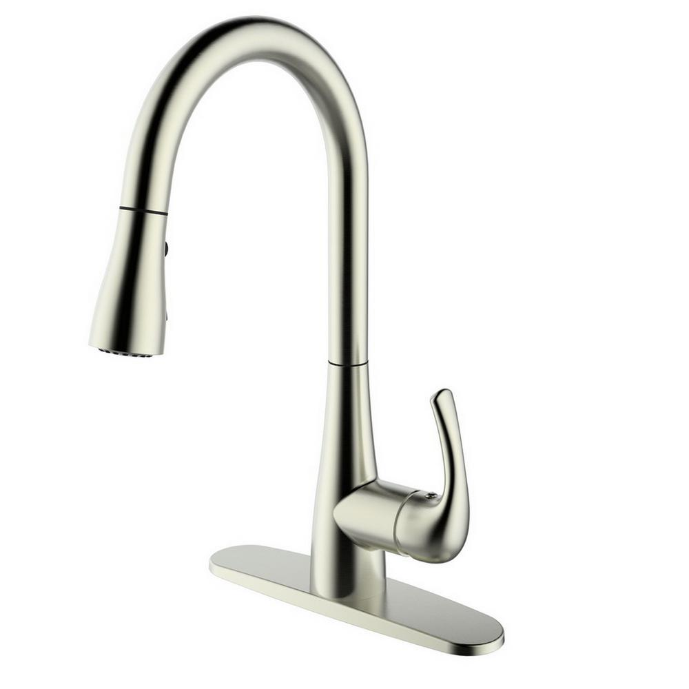 Runfine single handle pull down sprayer kitchen faucet in brushed nickel rf422001 the home depot - Homedepot kitchen faucet ...