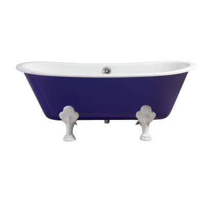 66.9 in. Cast Iron Clawfoot Non-Whirlpool Bathtub in Purple