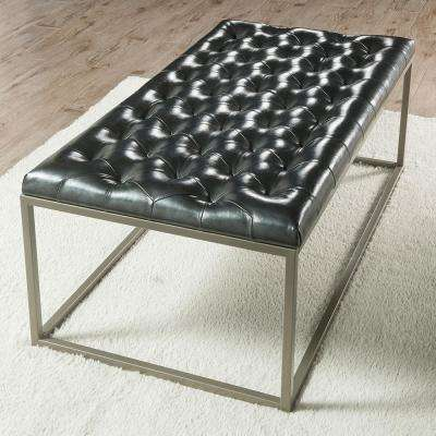 Glenda Upholstered Cocktail Table Metallic Charcoal Gray