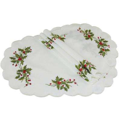 12 in. x 18 in. Mistletoe Embroidered Placemat (4-Set)
