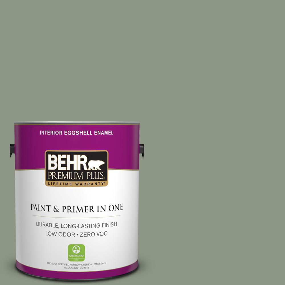 1 gal. #PPU11-17 Hillside Green Zero VOC Eggshell Enamel Interior Paint
