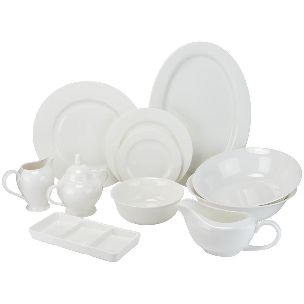 32-Piece White Bone China Dinnerware Set