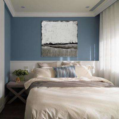 """48 in. x 48 in. """"White Atmosphere"""" Textured Metallic Hand Painted by Martin Edwards Wall Art"""