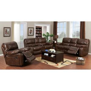 Internet #304068105. Ramsey Cognac Brown Transitional Top Grain Leather  Reclining Sofa