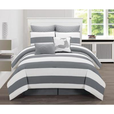 Delia Grey Stripe Printed Full Duvet Set