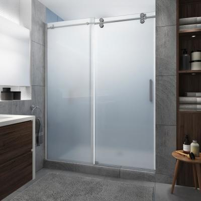 Langham XL 64 - 68 in. x 80 in. Frameless Sliding Shower Door with Ultra-Bright Frosted Glass in Stainless Steel