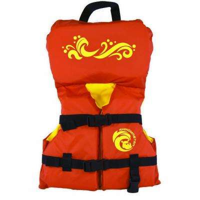 Infant Life Vest (Red) with 210D Nylon Fabric, PE Foam, 1 in. Webbing - USCG Approved Type II