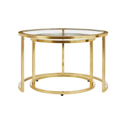 Cheval Gold Metal Nesting Coffee Tables with Glass Top (Set of 2) (30 in. W x 18.5 in. H)