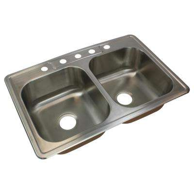 Classic Drop-In Stainless Steel 33 in. 5-Hole 50/50 Double Bowl Kitchen Sink in Brushed Stainless Steel