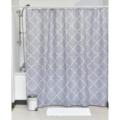 Printed Shower Curtain Polyester Fabric 71 in. W x 79 in. L + Set 12 White Shower Rings Carthage