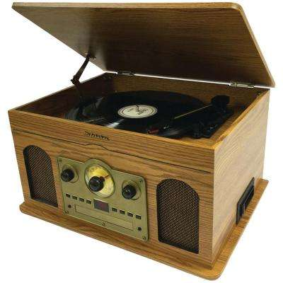 5-in-1 Stereo Music System - Wooden Grain