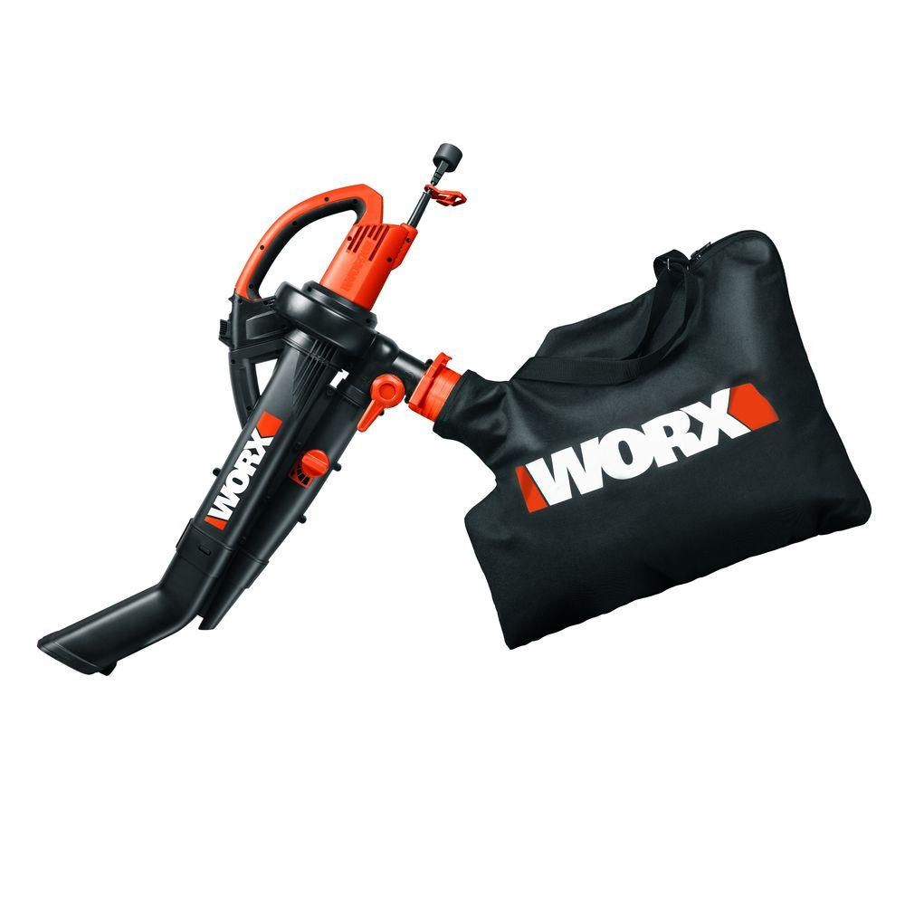 Worx 120 MPH 350 CFM 12 Amp Electric Leaf Blower/Mulcher/Vac with Metal Impeller