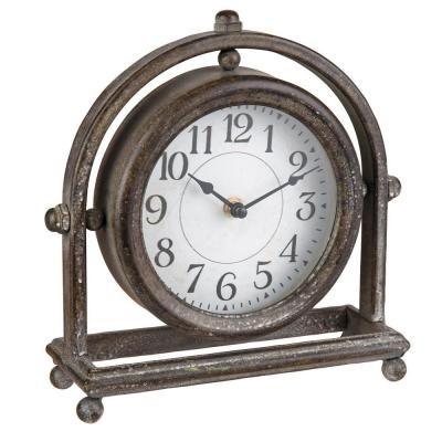 Round Rustic Metal Battery Operated Table Clock