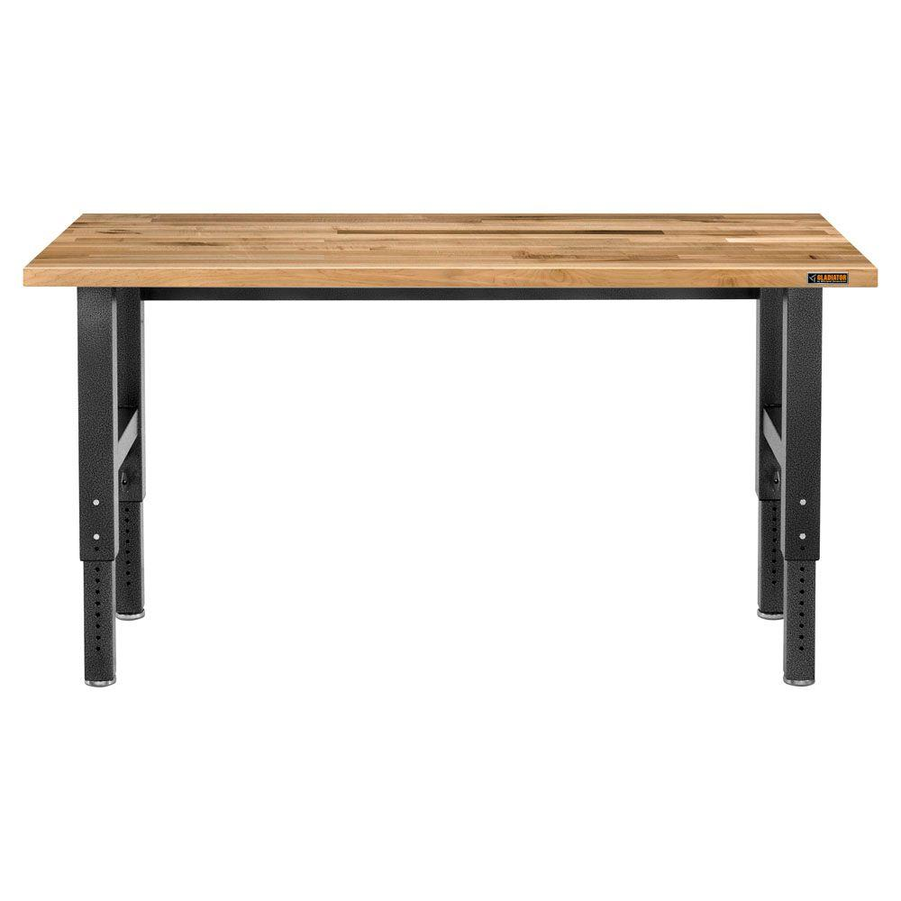 Gladiator Premier Series 42 in. H x 72 in. W x 25 in. D Maple Top Adjustable Height Workbench in Hammered Granite