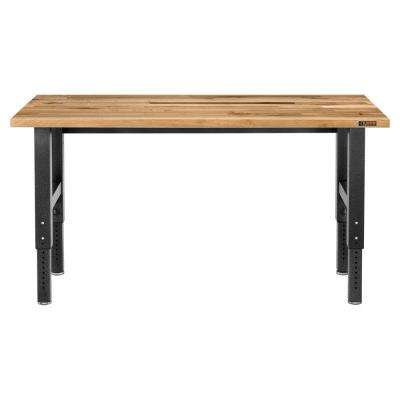Premier Series 42 in. H x 72 in. W x 25 in. D Maple Top Adjustable Height Workbench in Hammered Granite
