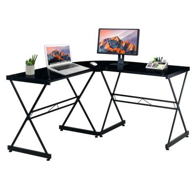 51 in. L-Shaped Black Computer Desk with Open Storage