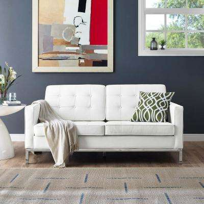 Loft White Leather Loveseat