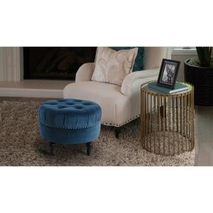 Tremendous Jennifer Taylor Dawn Satin Teal Tufted Round Ottoman 84190 Andrewgaddart Wooden Chair Designs For Living Room Andrewgaddartcom