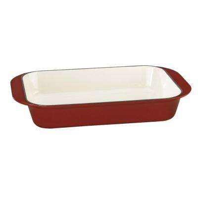 Chef's Classic Enameled Cast Iron 14 in. Roasting/Lasagna Pan in Cardinal Red