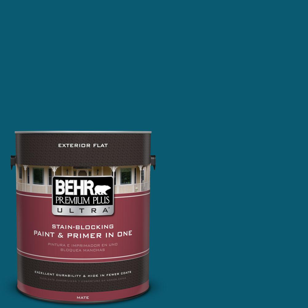 1 gal. #540D-7 Deep Blue Sea Flat Exterior Paint