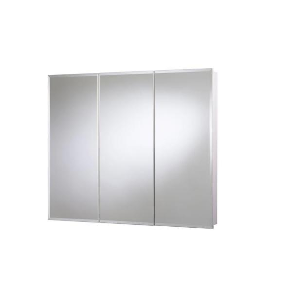 36 in. W x 30 in. H x 5-1/4 in. D Frameless Tri-View Surface-Mount Medicine Cabinet with Easy Hang System in White