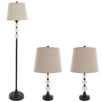 61 in. Crystal Bronze Lamp Set (3-Piece)