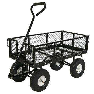 Black Steel Utility Cart with Removable Folding Sides
