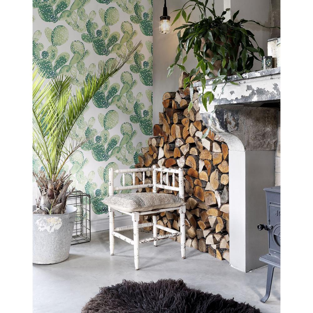 56.4 sq. ft. Mimi Green Cactus Strippable Wallpaper