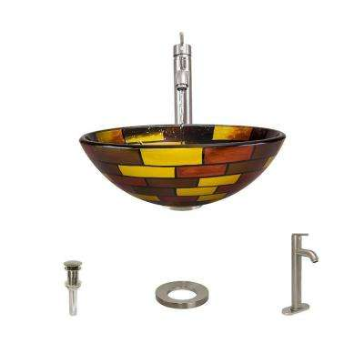 Glass Vessel Sink in Stained Glass with 718 Faucet and Pop-Up Drain in Brushed Nickel