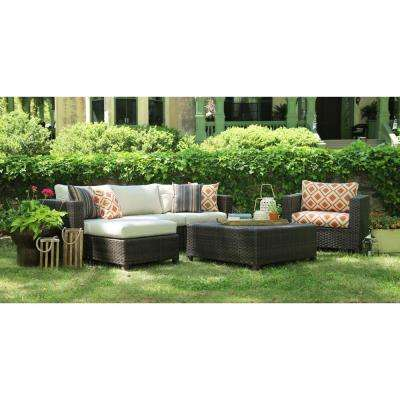 Biscayne 4-Piece Patio Deep Seating Set with Sunbrella Biscayne Cushions