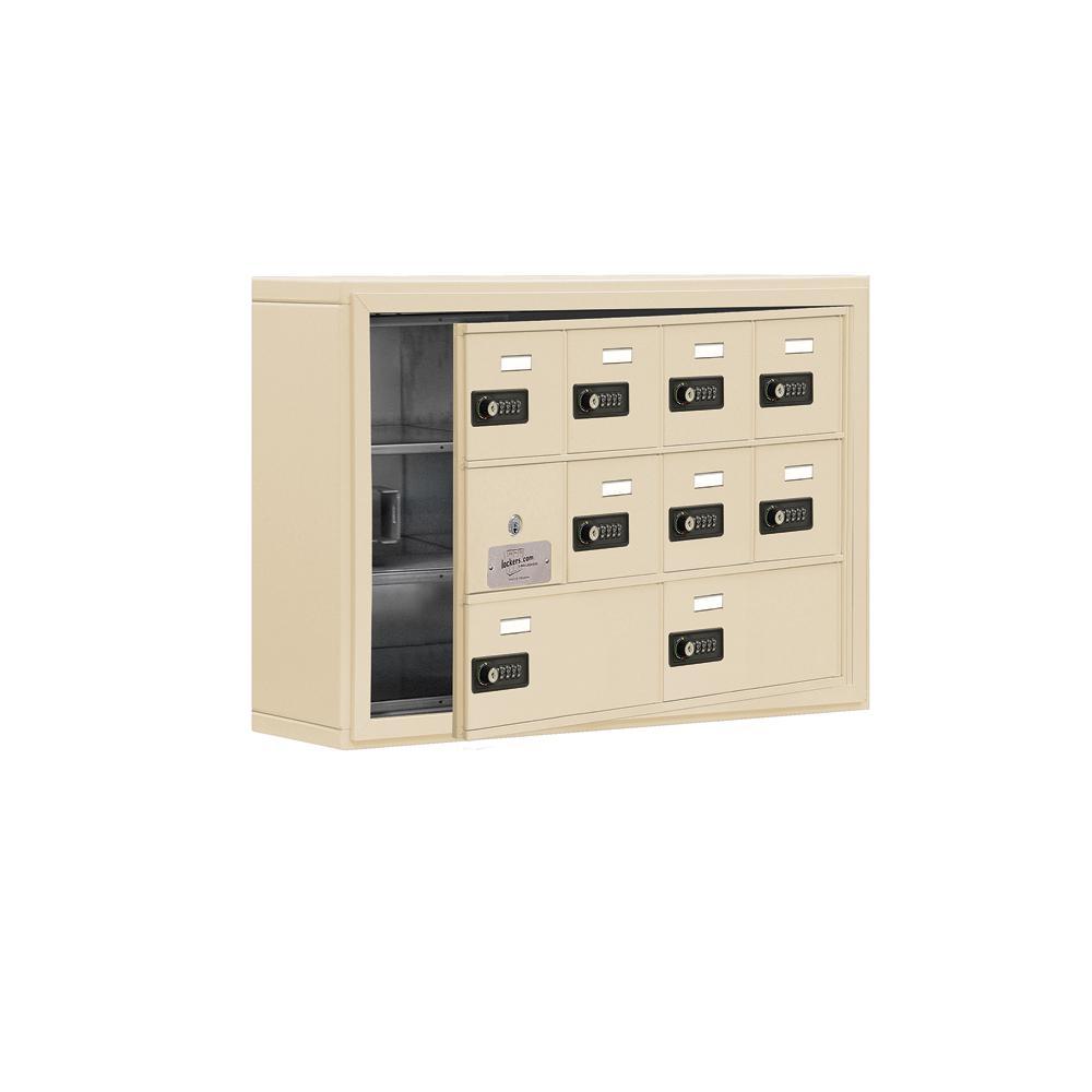 19100 Series 30.5 in. W x 20 in. H x 6.25 in. D 9 Doors Cell Phone Locker S-Mount Resettable Locks in Sandstone
