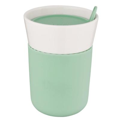 Leo 11.16 oz. Green Porcelain Travel Mug