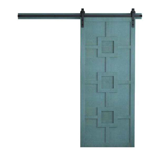42 in. x 84 in. Mod Squad Caribbean Wood Sliding Barn Door with Hardware Kit