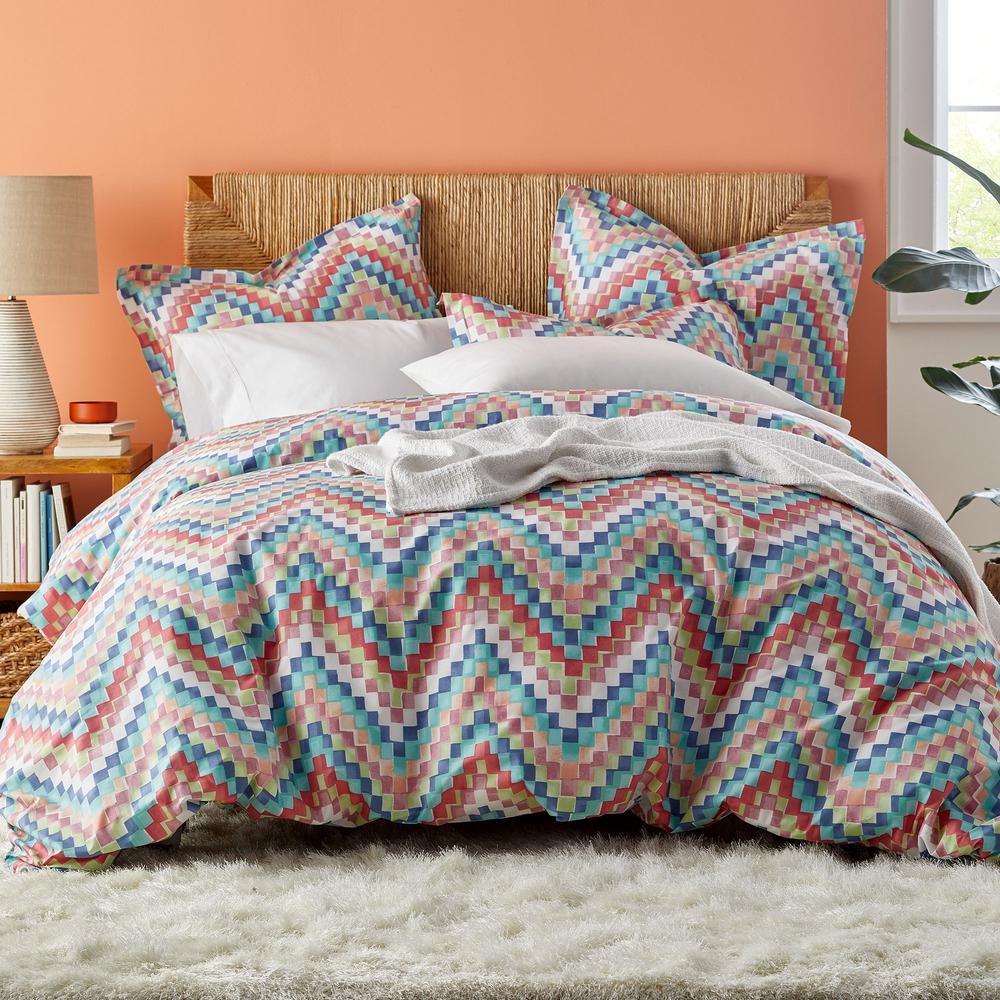 The Company Store Blockwave Multi Cotton Percale King Duvet Cover 50352D-K-MULTI