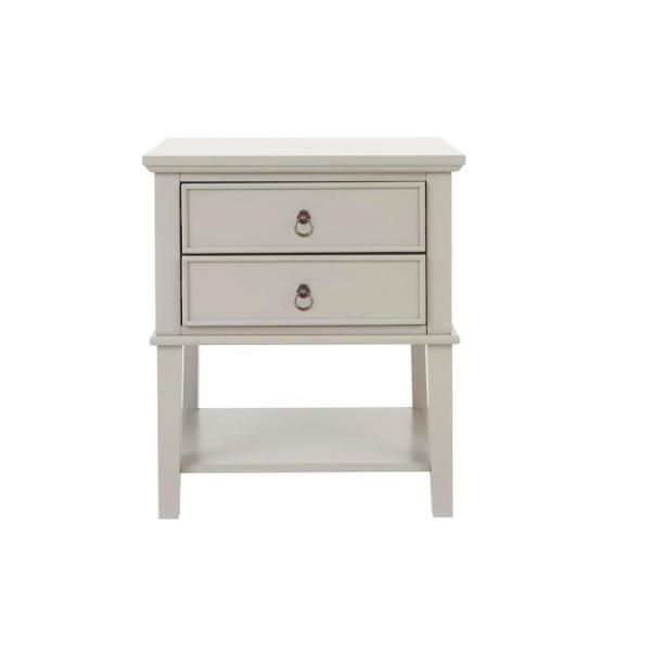 Grantley 2 Drawer Riverbed Taupe Wood Nightstand (22 in W. X 26 in H.)