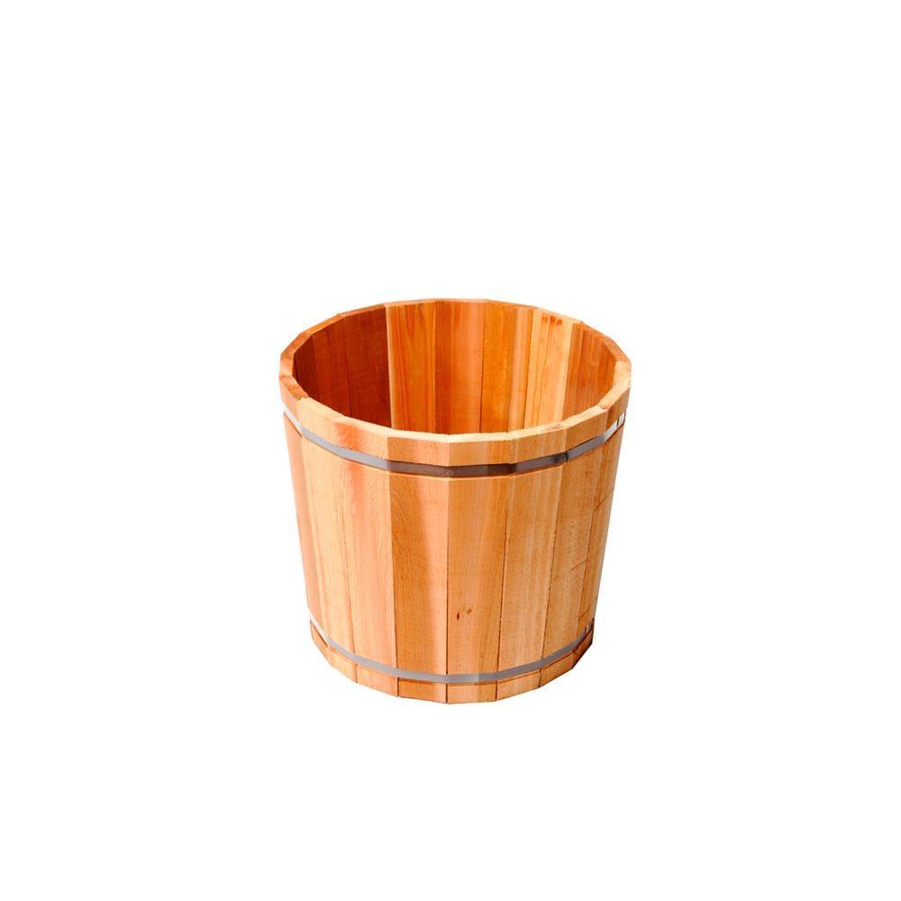 15 in. Dia Western Red Cedar Barrel Planter