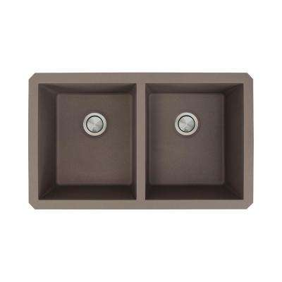 Radius Undermount Granite 32 in. Equal Double Bowl Kitchen Sink in Espresso