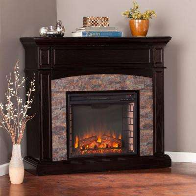 Rochester 48 in. Faux Stone Electric Fireplace TV Stand in Whiskey Maple