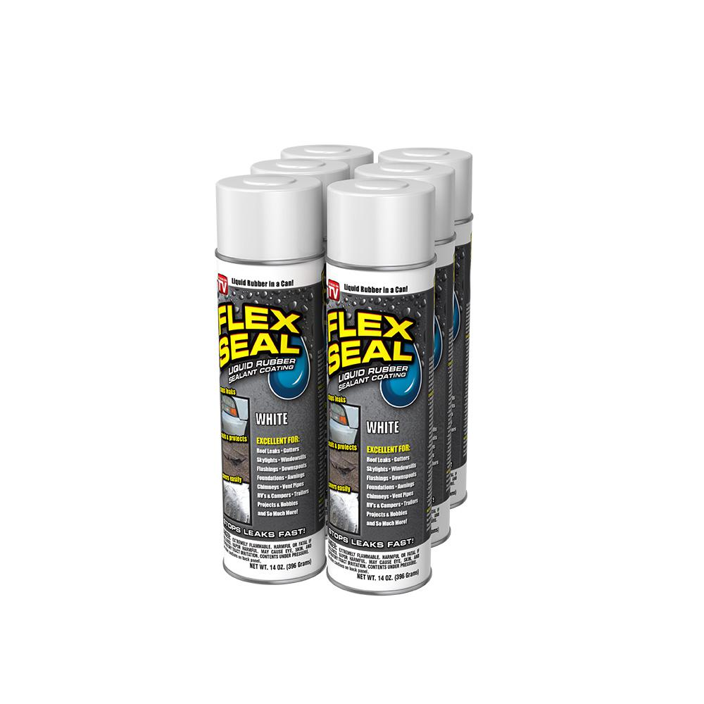 FLEX SEAL FAMILY OF PRODUCTS Flex Seal White 14 oz. Aerosol Liquid Rubber Sealant Coating (6-Piece)