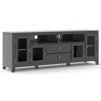 City Solid Wood 72 in. Wide Contemporary TV Media Stand in Black For TVs up to 80 in.