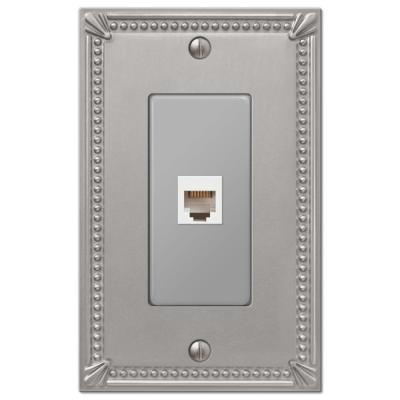 Imperial Bead 1 Gang Phone Metal Wall Plate - Brushed Nickel