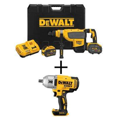 FLEXVOLT 60-Volt Max Lithium Ion Brushless Cordless 1-7/8 in. SDS Rotary Hammer Kit w/ Bonus Bare Cordless Impact Wrench