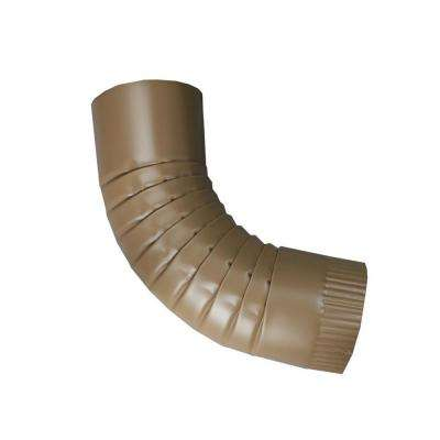 4 in. Round Cocoa Brown Aluminum Downpipe Elbow
