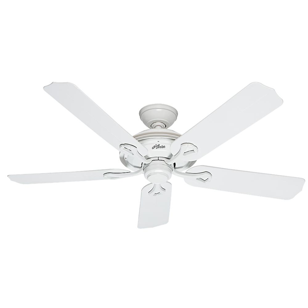 52 In White Indoor Outdoor Ceiling Fan 5 Blade Traditional Patio