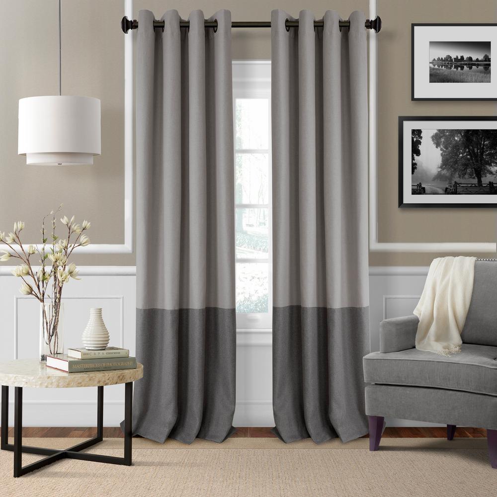 Braiden 52 in. W x 95 in. L Blackout Grommet Single Curtain Panel in Gray