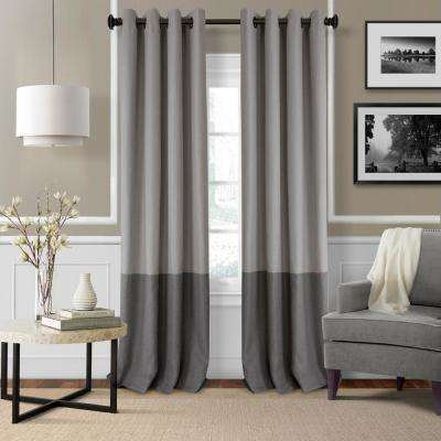 Braiden 52 in. W x 84 in. L Blackout Grommet Single Curtain Panel in Gray